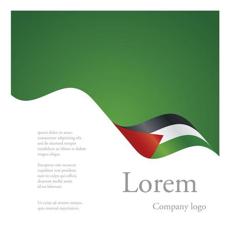 palestine: New brochure abstract design modular single pattern of wavy flag ribbon of Palestine