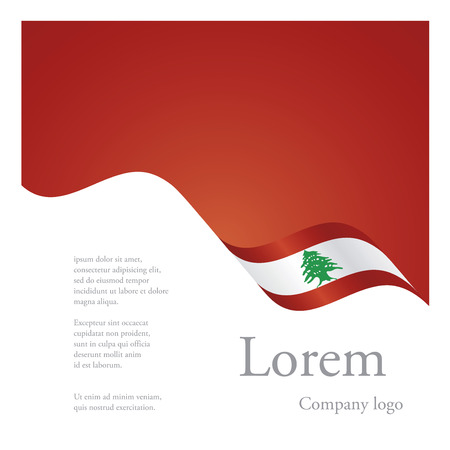 New brochure abstract design modular single pattern of wavy flag ribbon of Lebanon