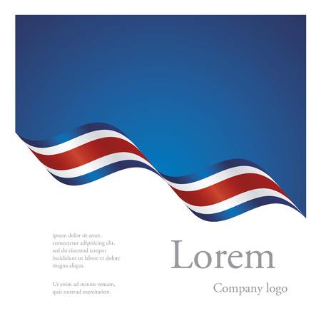コスタリカの波状フラグ リボンの新しいパンフレット抽象デザイン モジュール パターン  イラスト・ベクター素材