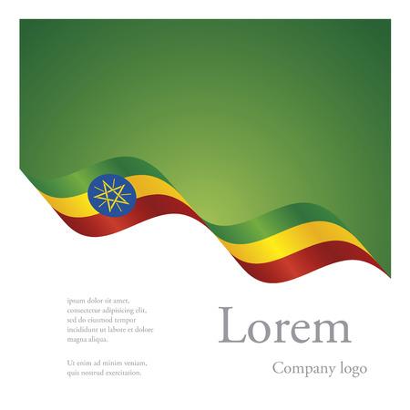 national flag ethiopia: New brochure abstract design modular pattern of wavy flag ribbon of Ethiopia