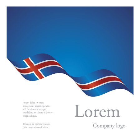New brochure abstract design modular pattern of wavy flag ribbon of Iceland