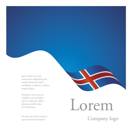 iceland: New brochure abstract design modular single pattern of wavy flag ribbon of Iceland