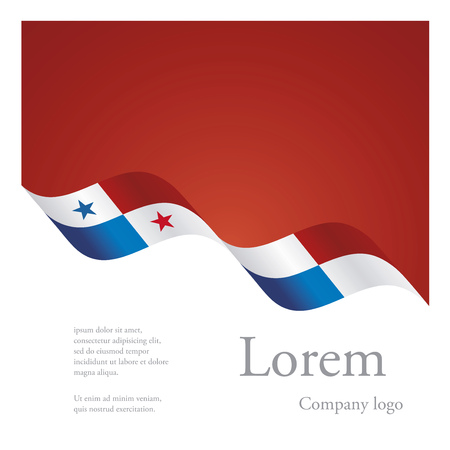 bandera de panama: New brochure abstract design modular pattern of wavy flag ribbon of Panama Vectores