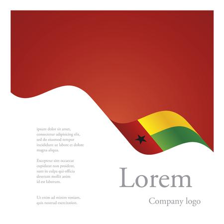 bissau: New brochure abstract design modular single pattern of wavy flag ribbon of Guinea Bissau Illustration