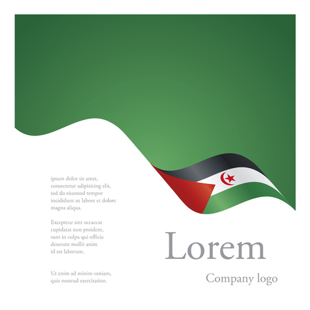 sahrawi arab democratic republic: New brochure abstract design modular single pattern of wavy flag ribbon of Western Sahara