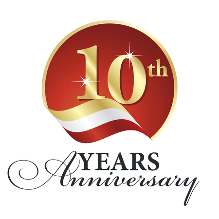 red gold: Anniversary 10th years celebrating gold white red ribbon. Illustration