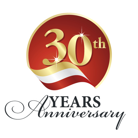 30th: Anniversary 30th years celebrating gold white red ribbon.