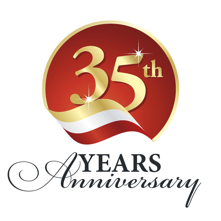 35th: Anniversary 35th years celebrating gold white red ribbon.