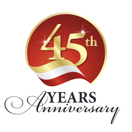 45th: Anniversary 45th years celebrating gold white red ribbon.