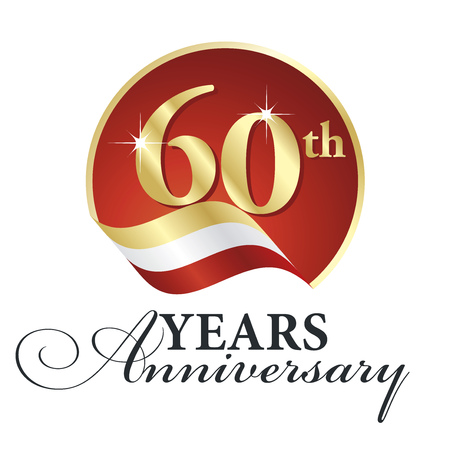 60th: Anniversary 60th years celebrating gold white red ribbon. Illustration