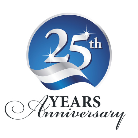 Anniversary 25 th years celebrating logo silver white blue ribbon background