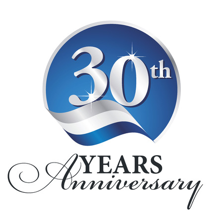 Anniversary 30 th years celebrating logo silver white blue ribbon background