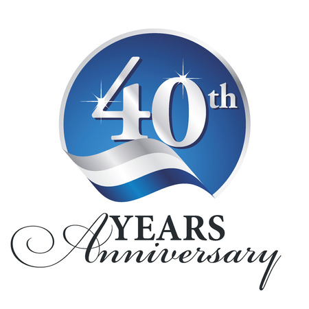 Anniversary 40 th years celebrating logo silver white blue ribbon background Vectores
