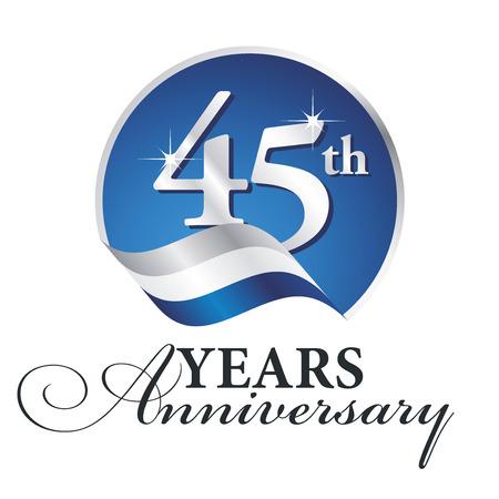 Anniversary 45 th years celebrating logo silver white blue ribbon background