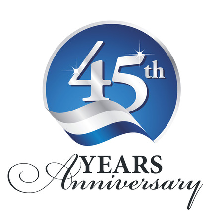 Anniversary 45 th years celebrating logo silver white blue ribbon background