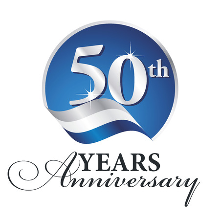 Anniversary 50 th years celebrating logo silver white blue ribbon background