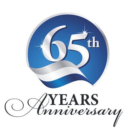 Anniversaire 65 e anniversaire de célébrer le logo argent blanc ruban bleu Logo