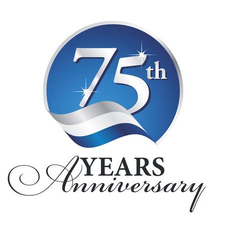 Rocznica 75 lat obchodzi logo srebrne białe niebieskie tło wstążki Logo