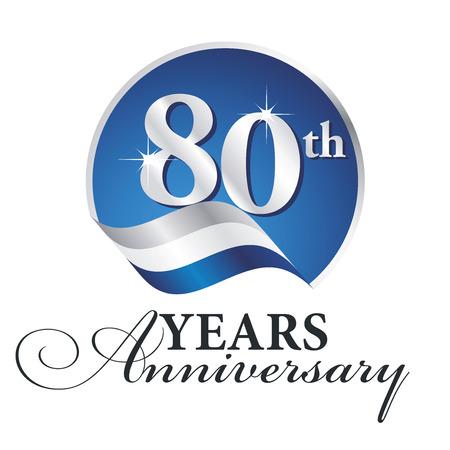 80th: Anniversary 80 th years celebrating logo silver white blue ribbon background Illustration