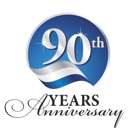 90th: Anniversary 90 th years celebrating logo silver white blue ribbon background Illustration