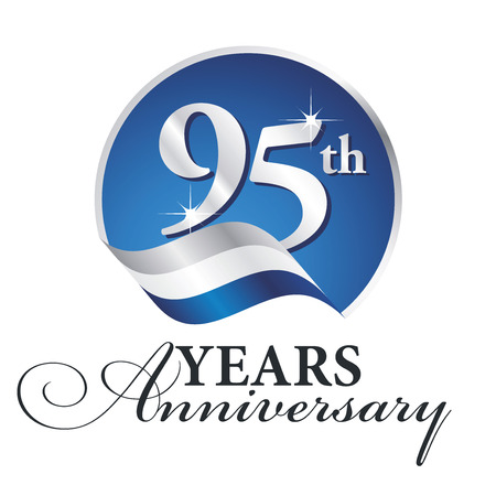 Anniversary 95 th years celebrating logo silver white blue ribbon background Illustration