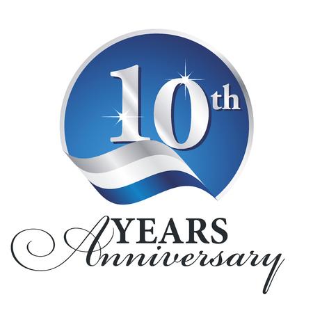 Anniversary 10 th years celebrating logo silver white blue ribbon background Illustration