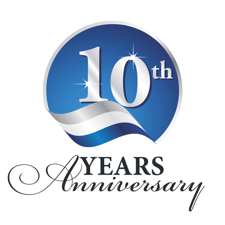 Anniversary 10 th years celebrating logo silver white blue ribbon background Ilustração