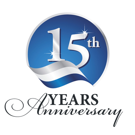 th: Anniversary 15 th years celebrating logo silver white blue ribbon background