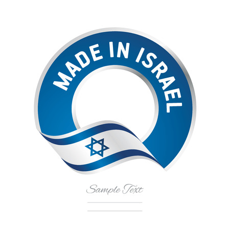 Made in Israel flag blue color label logo icon