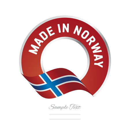 Made in Norway flag red color label logo icon