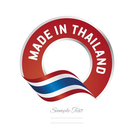 Made in Thailand drapeau icône du logo étiquette de couleur rouge Banque d'images - 72371573