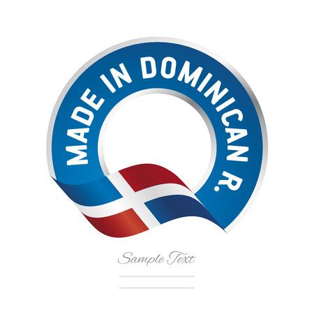 Made in Dominican Republic flag blue color label logo icon Logó