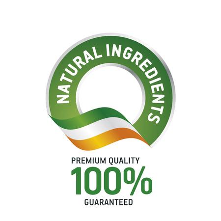 Natural ingredients green ribbon label icon Illustration