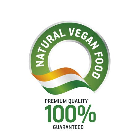 natural food: Natural Vegan food green ribbon label icon
