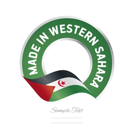 sahrawi arab democratic republic: Made in Western Sahara flag green color label icon
