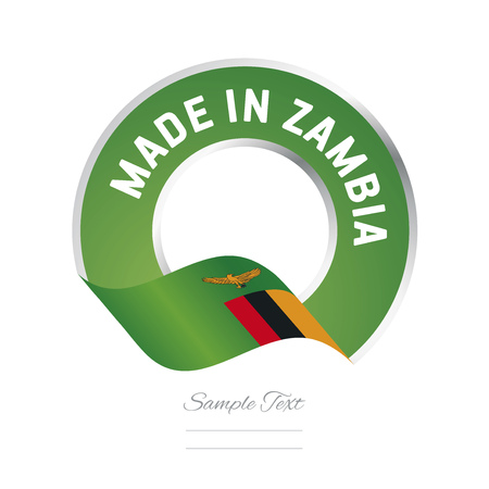 zambian: Made in Zambia flag green color label icon