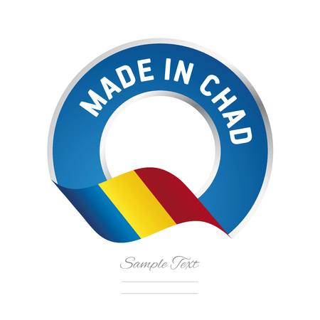 chadian: Made in Chad flag blue color label icon Illustration