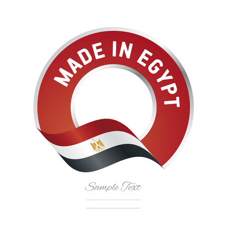 color in: Made in Egypt flag red color label icon