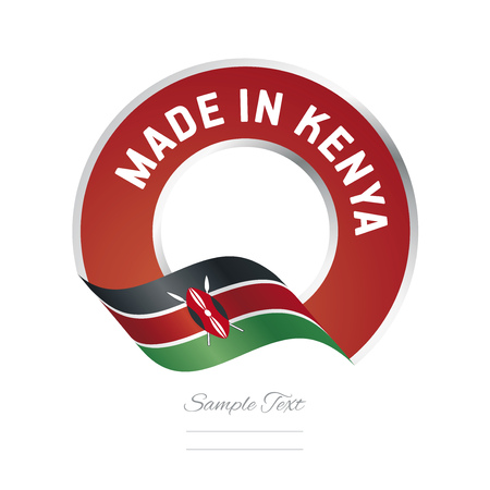 Made in Kenya flag red color label icon