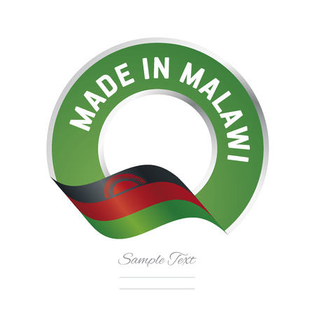 malawi flag: Made in Malawi flag green color label icon Illustration