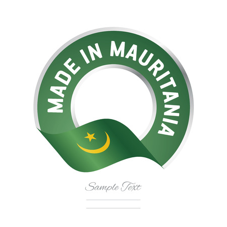 color in: Made in Mauritania flag green color label icon