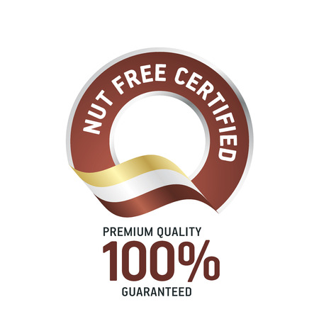 nuts: Nut Free Certified brown ribbon label logo icon Illustration