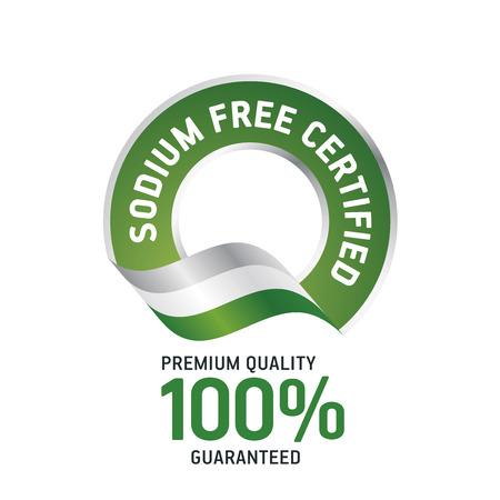 sodium: Sodium Free Certified green ribbon label logo icon