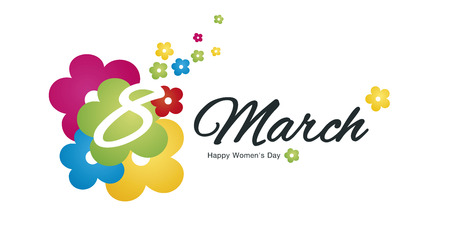 Happy Womens Day 8 March full color flowers black logo