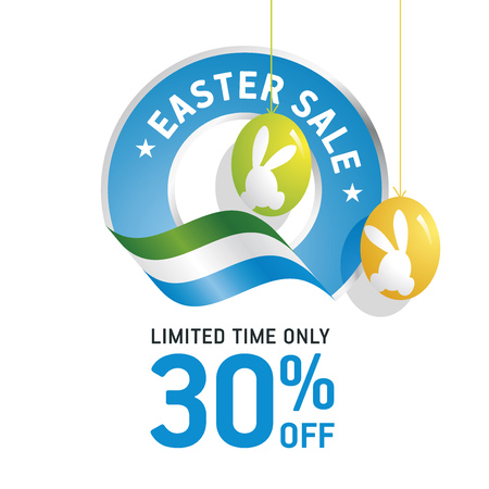 green coupon: Easter Sale 30 percent flag blue color logo icon