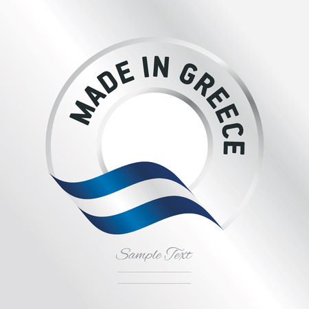 Made in Greece transparent logo icon silver background Illustration