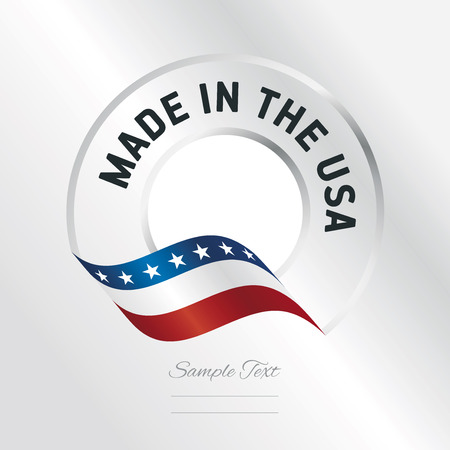 Made in USA transparent logo icon silver background