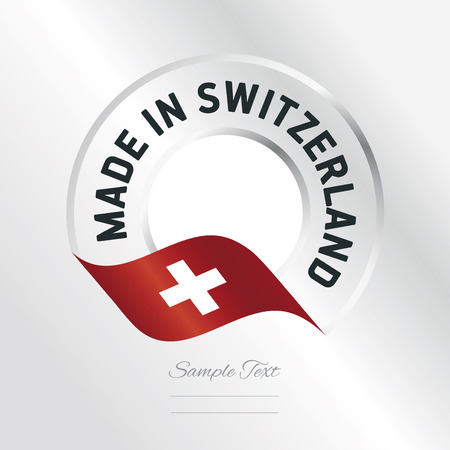 swiss insignia: Made in Switzerland transparent logo icon silver background Illustration