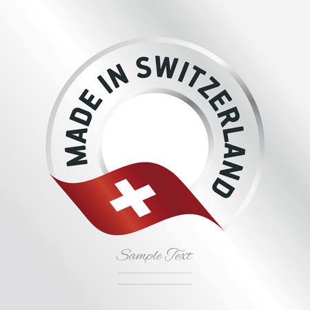 Made in Switzerland transparent logo icon silver background Illustration