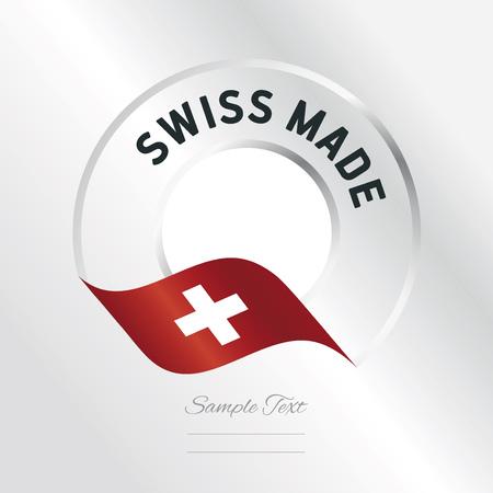 Zwitserse Gemaakte transparante logo icoon zilveren achtergrond